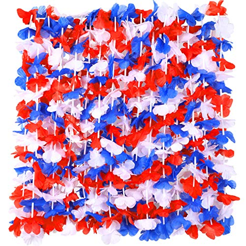 30 Pieces Patriotic Flower Necklace American Flag Color Flower Lei Hawaiian Luau Flower Necklace Garland Wreath for Independence Day Party Decorations, White Blue with Red Design