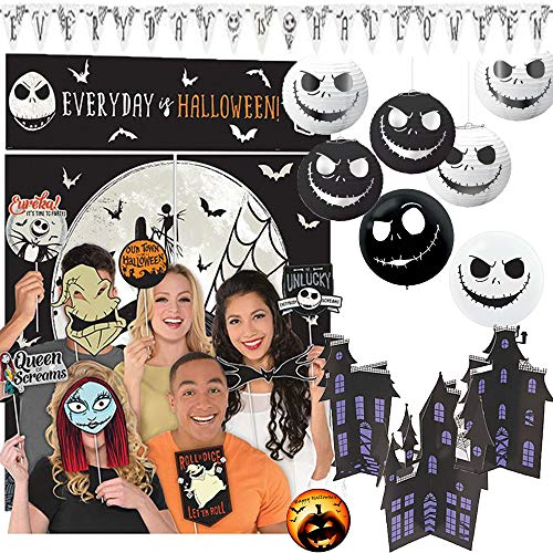 Tim Burton Halloween Decorations (Deluxe Tim Burton Nightmare Before Christmas Party Decoration Pack With Scene Setter and Photo Props, Jack Balloons, Honeycomb Decoration, Table Decorating Kit, Everyday is Halloween Banner and)