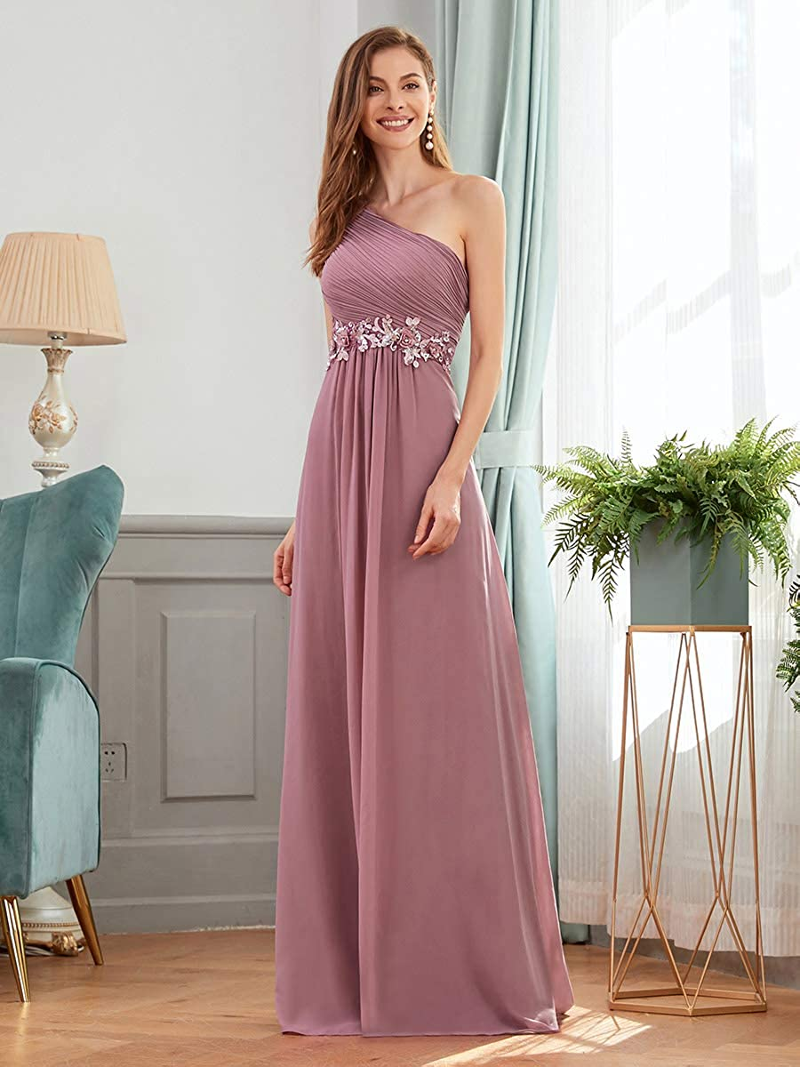 Ever-Pretty Vestito da Cerimonia Elegante Una Spalla Senza Maniche Appliques Stile Impero Donna Abiti da Sera 00536