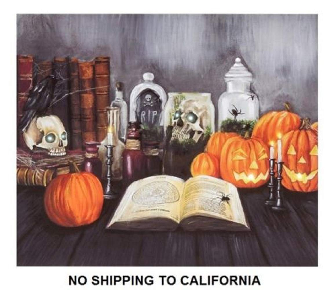 Lighted Halloween Jack o Lantern Pumpkin Skulls Canvas Wall Hanging Fall Decor
