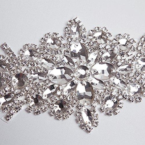 E-Clover Rhinestone Ribbon Sash Belt for Bridal Women's Wedding Dress Belt (Off White) by E-Clover (Image #7)