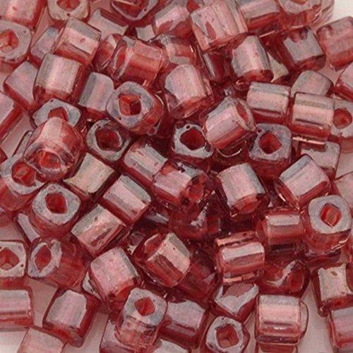 Mauve Transparent Beads (Seed Beads 4mm Cube 291 Transparent Rose Mauve Lined Toho 15 Grams)