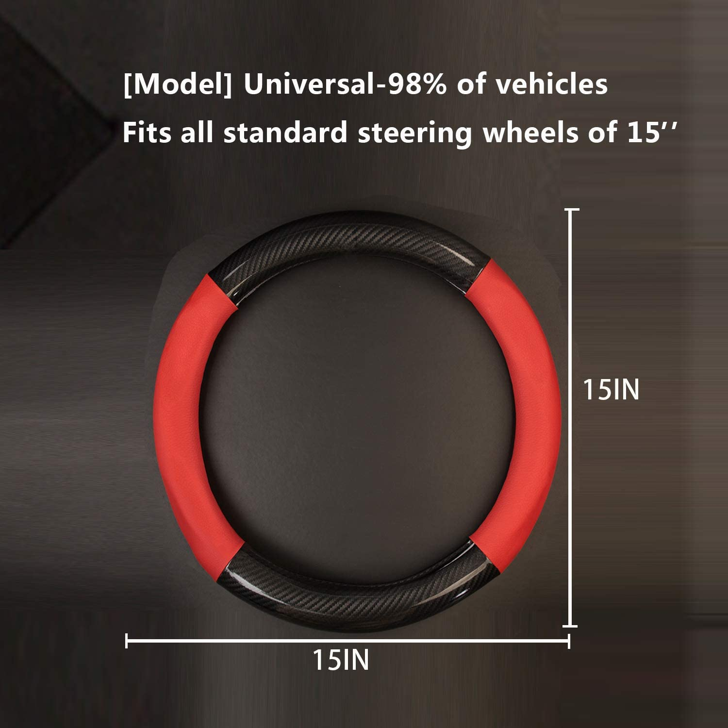 Leather Car Steering Wheel Covers for Women and Man Breathable Anti-Slip Odorless,Universal Fit 15 Inch Autsop Steering Wheel Cover Black