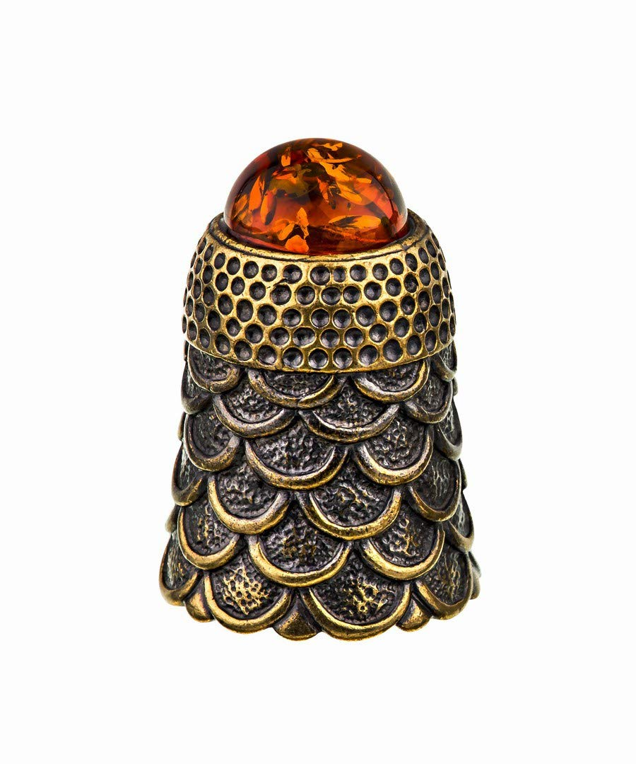 Amber and Brass Collectible Thimble (Scales) Decorative Souvenir Thimbles. Antique and Vintage Designs from Kaliningrad, Russia.Packed in a Beautiful Siberian Birch Bark Gift Box(Random Selection) by Brass and Amber Art