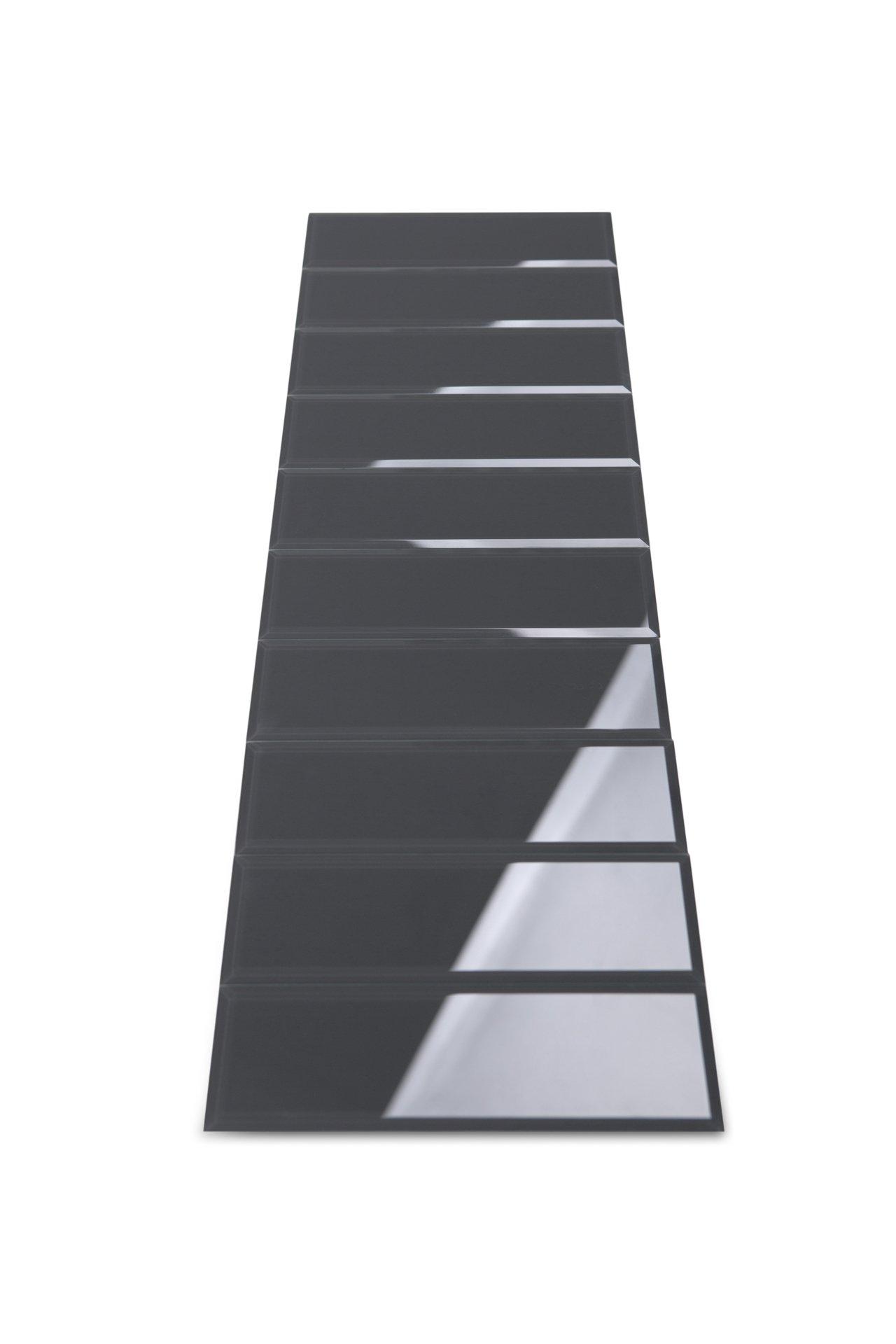 3'' x 10'' Subway/Brick Gray Glass Tile with Beveled Edge for Kitchen Backsplash/Bathroom 55 Tiles Kit/Covers 12sq/ft