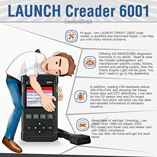 LAUNCH Creader 6001 OBD2 Scanner Code Reader Full OBDII/EOBD Scan Diagnostic Tool for O2 Sensor Test, On Board Monitor Test and Turn Off Check Engine Light by LAUNCH (Image #4)