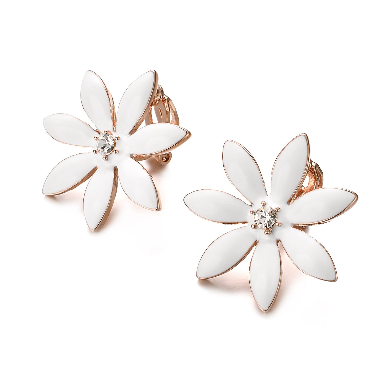 Yoursfs Flower Clip On Earrings for Women Non Pierced Ears Rose Wedding jewelry (White Clip Earrings) … by Yoursfs (Image #4)