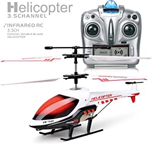 Remote Control Helicopter for Kids, with Gyro and LED Light,3.5 Channel Mini Helicopter,Remote Control for Kids & Adult Indoor Outdoor RC Helicopter Best Helicopter Toy Gift,red