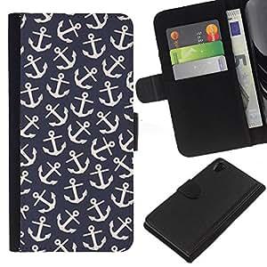 For Sony Xperia Z2 D6502 Case , Vintage Wallpaper Pattern Sailor - la tarjeta de Crédito Slots PU Funda de cuero Monedero caso cubierta de piel