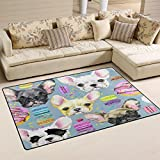 WOZO Watercolor Donut Cherry Chihuahua Dog Area Rug Rugs Non-Slip Floor Mat Doormats for Living Room Bedroom 60 x 39 inches Review
