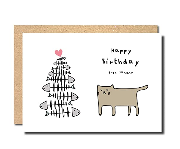 Birthday Card From The Cat Joke Funny Greeting Handmade Perosnalised Concatulations Female Male Dad Mum Best Friend Girlfriend Boyfriend Wife Husband
