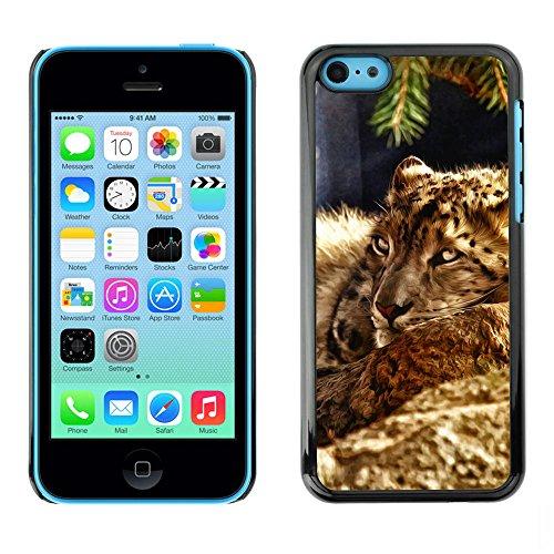 TaiTech / Case Cover Housse Coque étui - Leopard Furry Beast Nature Animal Cat - Apple iPhone 5C