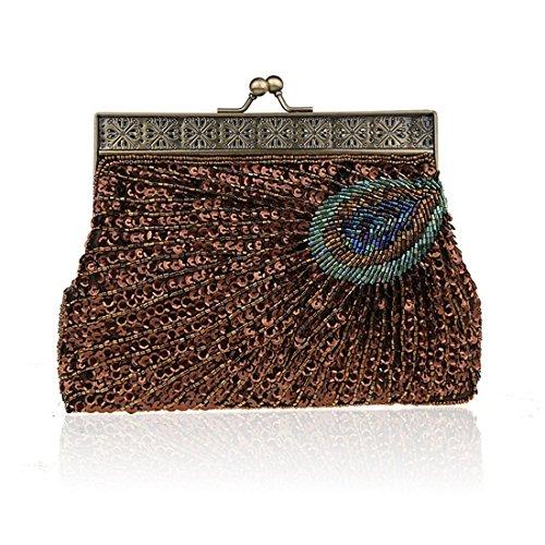 Sequin Coffee Clutch Handbag Peacock Antique Eye Beaded Purse Vintage Evening Unusual Catching Teal Sunburst YxapwOn