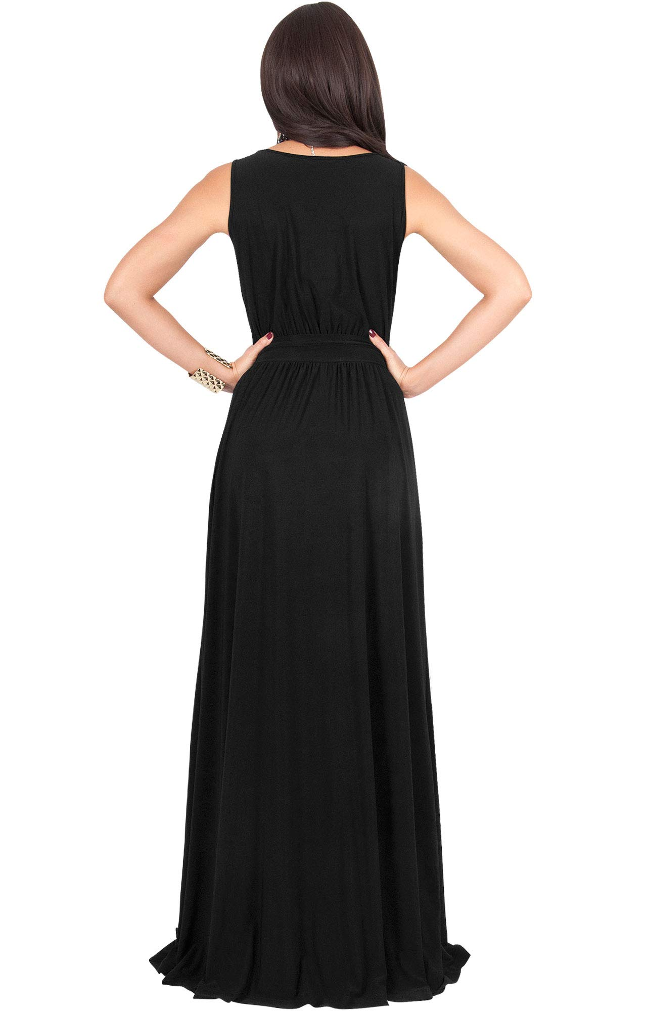 KOH KOH Womens Long Sleeveless Flowy Bridesmaids Cocktail Party Evening Formal Sexy Summer Wedding Guest Ball Prom Gown Gowns Maxi Dress Dresses, Black L 12-14 by KOH KOH (Image #6)