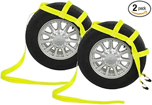 Tow Dolly Basket Strap with Twisted Snap Hooks,Yellow Car Wheel Straps Universal Vehicle Tow Dolly Straps.
