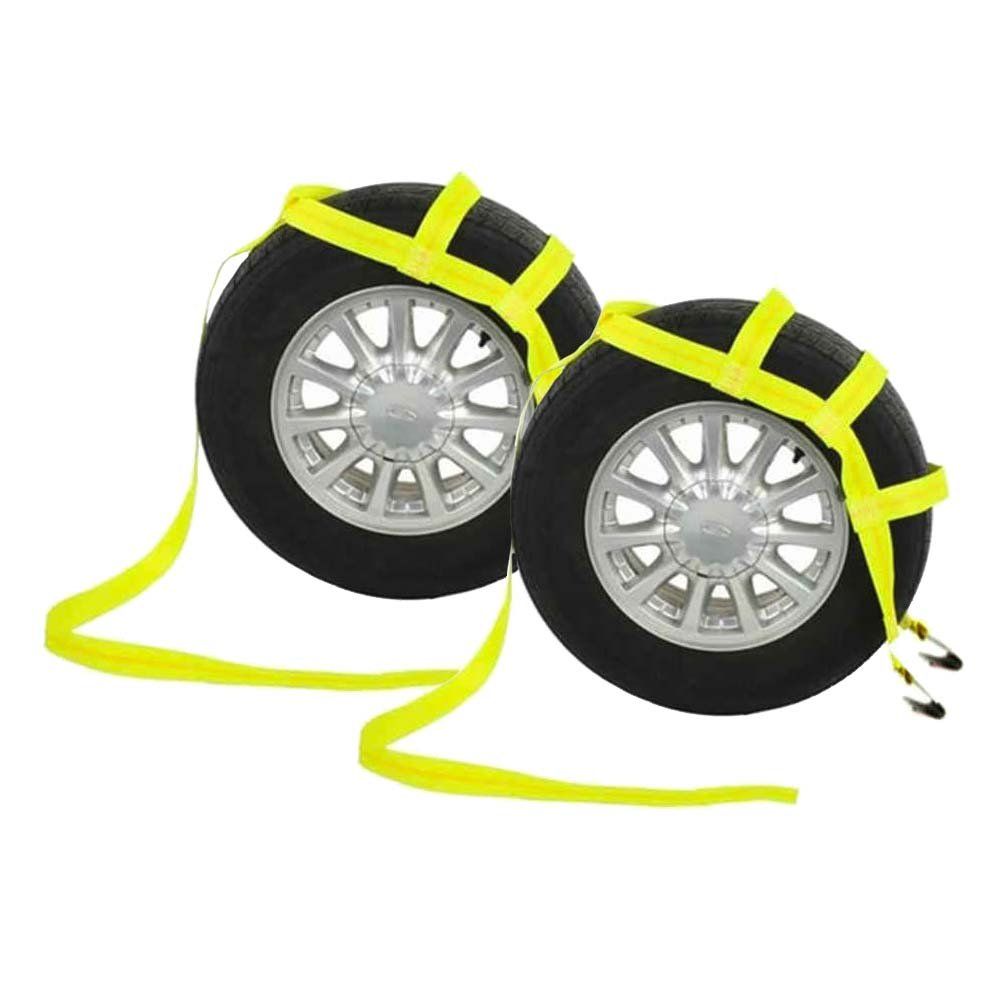 (2 Pack) - Yellow Tow Dolly Basket Strap with Flat Hooks