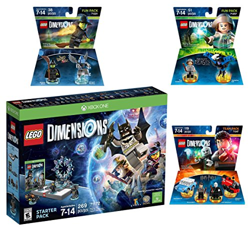 Lego Dimensions Magical Starter Pack + Harry Potter Team Pack + Fantastic Beasts Tina Goldstein Fun Pack + The Wizard Of Oz Fun Pack for Xbox One or Xbox One S Console by WB Lego