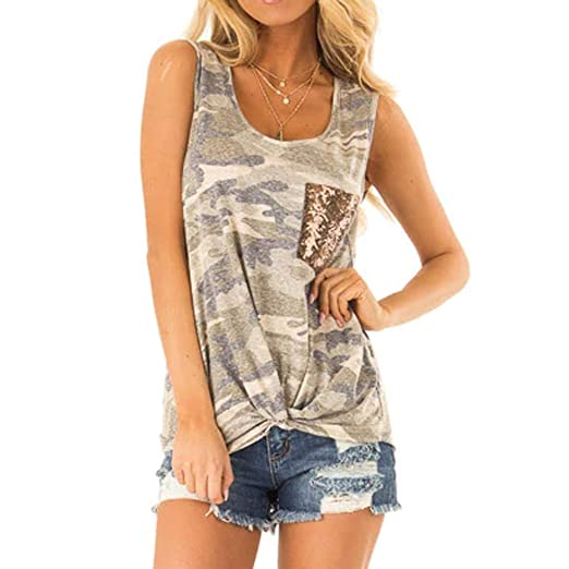 8aa06f05f Image Unavailable. Image not available for. Color: Sttech1 Women's  Sleeveless Camouflage Print Sequin Pocket Vest T-Shirt Top