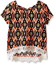 My Michelle Big Girls' Printed Short Sleeve Top with Crossover Back and Lace Hemline Detail, Apricot, Medium
