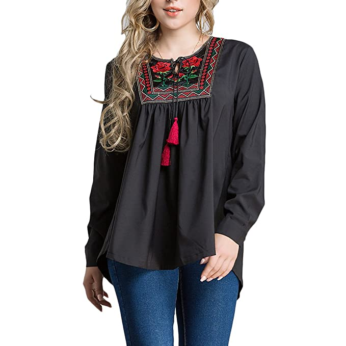 0abee0f32cb5e4 Amazon.com  Zhuhaitf Elegant Womens Tops Embroidery Flowers Ethnic ...