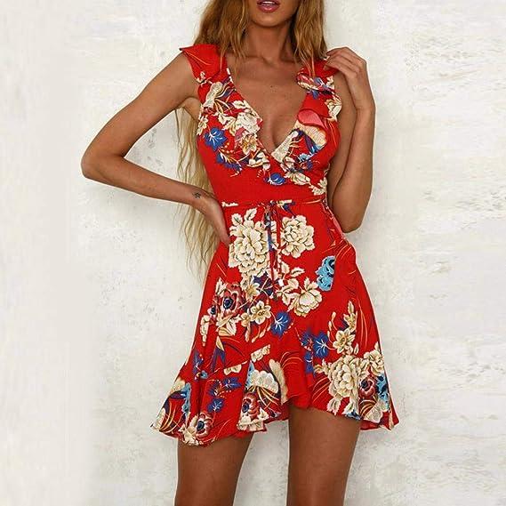 VJGOAL Las Mujeres de Moda Casual Gasa Sexy con Cuello en v Personalidad Floral Print Beach Dulce Volantes A-Line Mini Vestido con cinturón: Amazon.es: Ropa ...