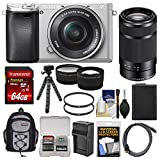 Cheap Sony Alpha A6300 4K Wi-Fi Digital Camera & 16-50mm (Silver) with 55-210mm Lens + 64GB Card + Case + Battery & Charger + Flex Tripod + Filters + Kit