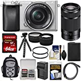 Sony Alpha A6300 4K Wi-Fi Digital Camera & 16-50mm (Silver) 55-210mm Lens + 64GB Card + Case + Battery & Charger + Flex Tripod + Filters + Kit