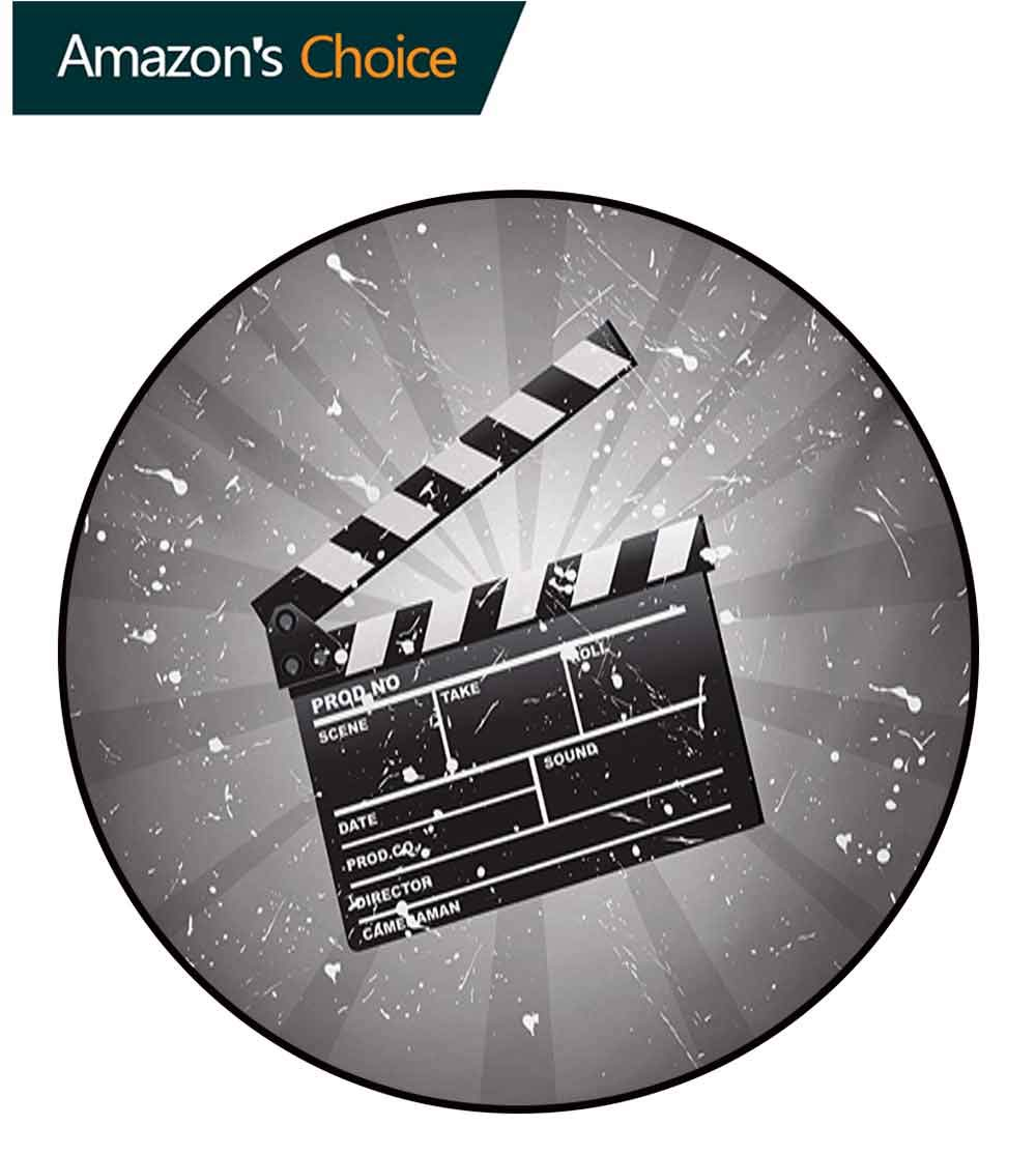 RUGSMAT Movie Theater Art Deco Pattern Non-Slip Backing Round Area Rug,Clapper Board On Retro Backdrop with Grunge Effect Director Cut Scene Study Super Soft Carpet,Round-47 Inch Grey Black White