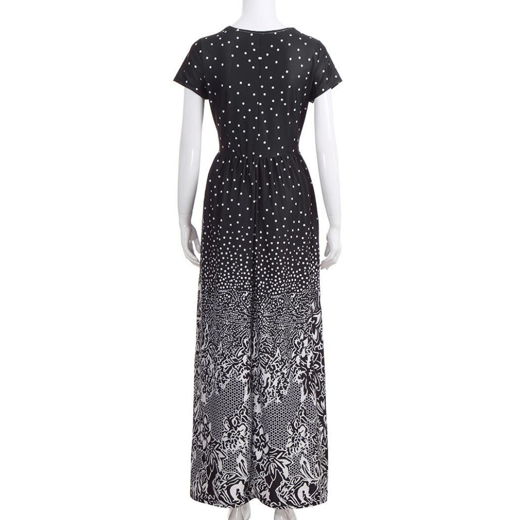 Rambling Popular Women's Sleeveless/Short Sleeve Maxi Dress Floral Print Causal Long Dress with Pocket by Rambling (Image #6)