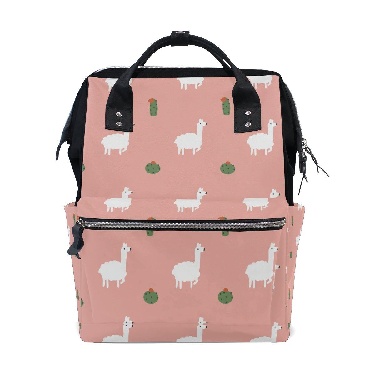 THUNANA Alpaca Pattern Pink Zipper Travel Large Capacity Baby Diaper Bag School Laptop Canvas Backpack Women