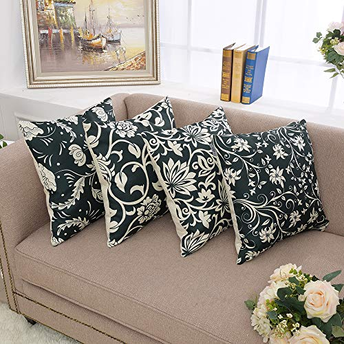 Yinnazi Fashion Geometric Pattern Throw Pillow Covers Square Decorative Cushion Case for Sofa Printing Pillowcase,18 inch,Set of 4,Many Color Blackish Green and White