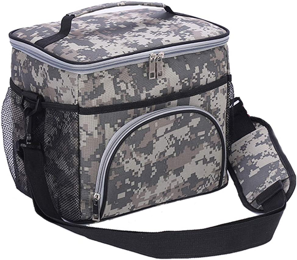 HMQINYI Large Lunch Box for Men Camouflage Insulated Lunch Bags for Adults Picnic Cooler Bag for Work Office Travel,14L,18 Cans (CAMO)