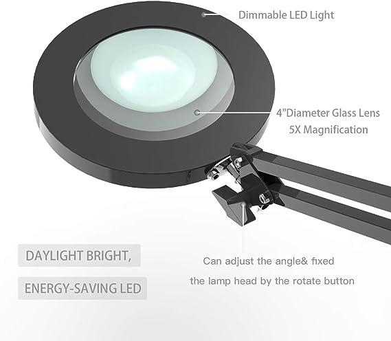 Youkoyi Led Lupenleuchte Lupenlampe Mit Klemme Schwenkarm Schreibtischlampe Arbeitsplatzlampe 5x Vergrößerung Dimmbar 3 Farbmodi Schwarz 105 Mm Glaslinse Beleuchtung