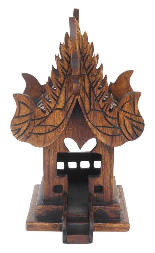 Phuketshop Sanpraphum Thai Handmade Spirit House Teak Wood Small Size