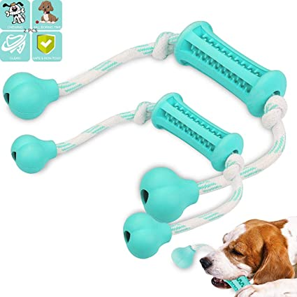2 pack Pet Dog Rope Fetch Toy With Rubber Bone Durable long Lasting Free