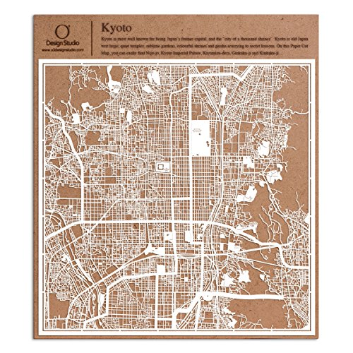 Kyoto Paper Cut Map by O3 Design Studio White 12x12 inches Paper Art