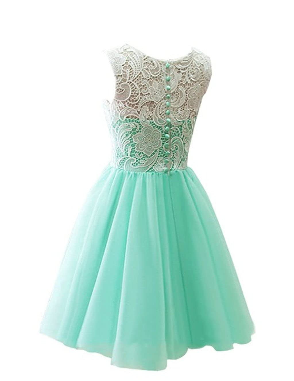CCBubble Lace Homecoming Dresses O Neck Short Graduation Party Dress