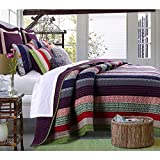 2 Piece French Country Woven Striped Theme Quilt Twin Set, Beautiful Multi Colored Stripe Bedding, Vintage Vertical Paisley Scroll Stripes Reversible Solid Plum Purple, Dark Navy Blue Pink Red Green