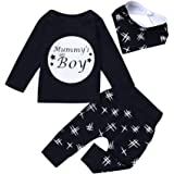 SHOBDW Boys Clothing Sets, 3PCS Baby Fashion Letter Tops + Pants + Bibs Toddler Infant Outfits Clothes