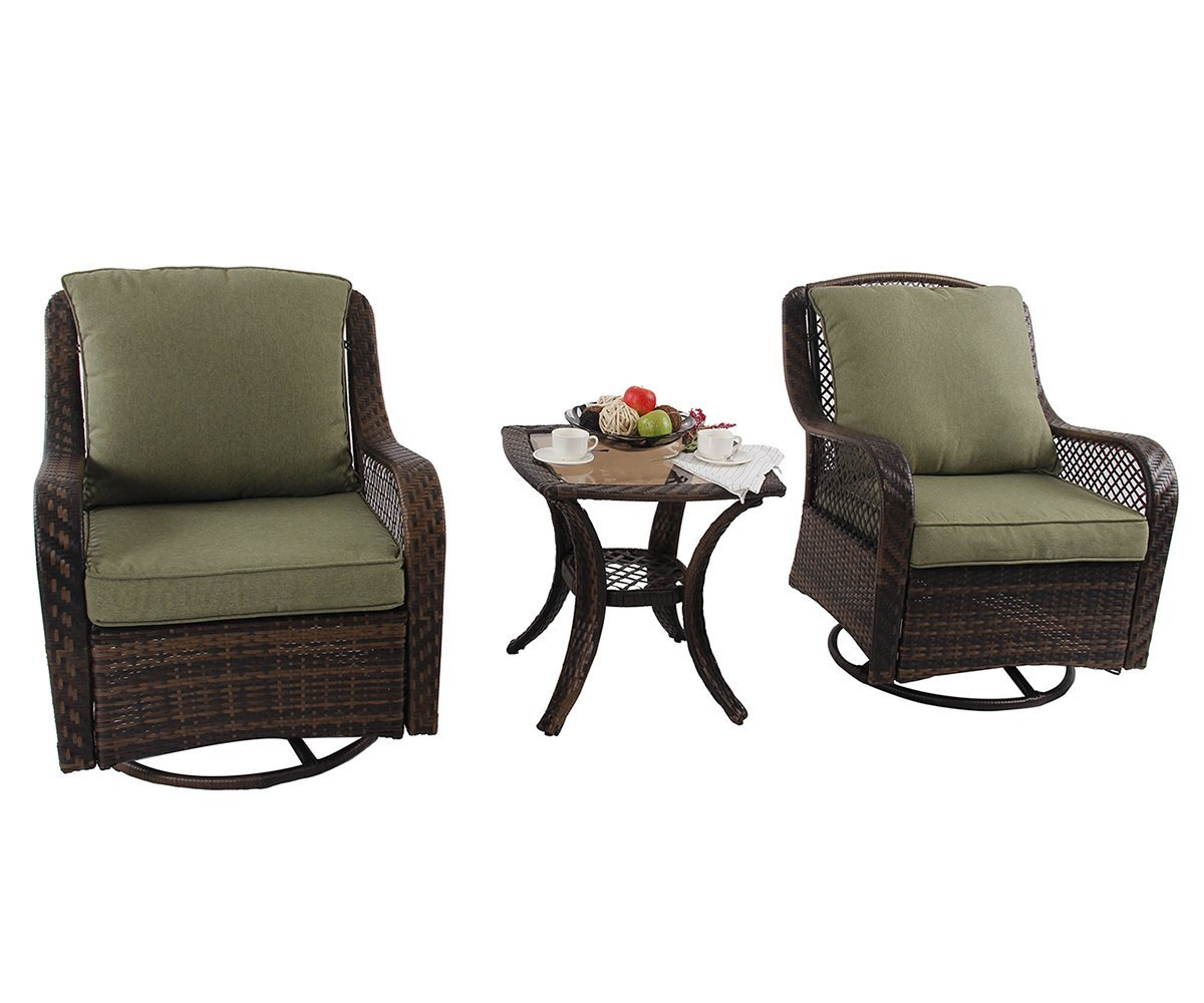 """PHI VILLA Rattan Swivel Rocking Chairs 3 PC Patio Conversation Set, 2 Cushioned Chairs & 1 Side Table - Special Design: 360-degree swivel performing chairs with gentle rocking ability. The outdoor sofa set features generous, extra deep seat, creating the superior comfort. 360 degree full motion sofa gives you an enjoyable and cozy feeling Overall size(fully assembled): Swivel chair: W26"""" x L29.5"""" x H39"""", Coffee Table: W19.5"""" x L19.5"""" x H21.5"""" Occasions: Ideal for any outdoor space including yards, patios, gardens, porches, balcony or indoors if you want. Enjoy eating, gaming or sun bath with friends or family on this set. Rust and weather resistant. Perfect for outdoor activities - patio-furniture, patio, conversation-sets - 61uD5W75p2L -"""