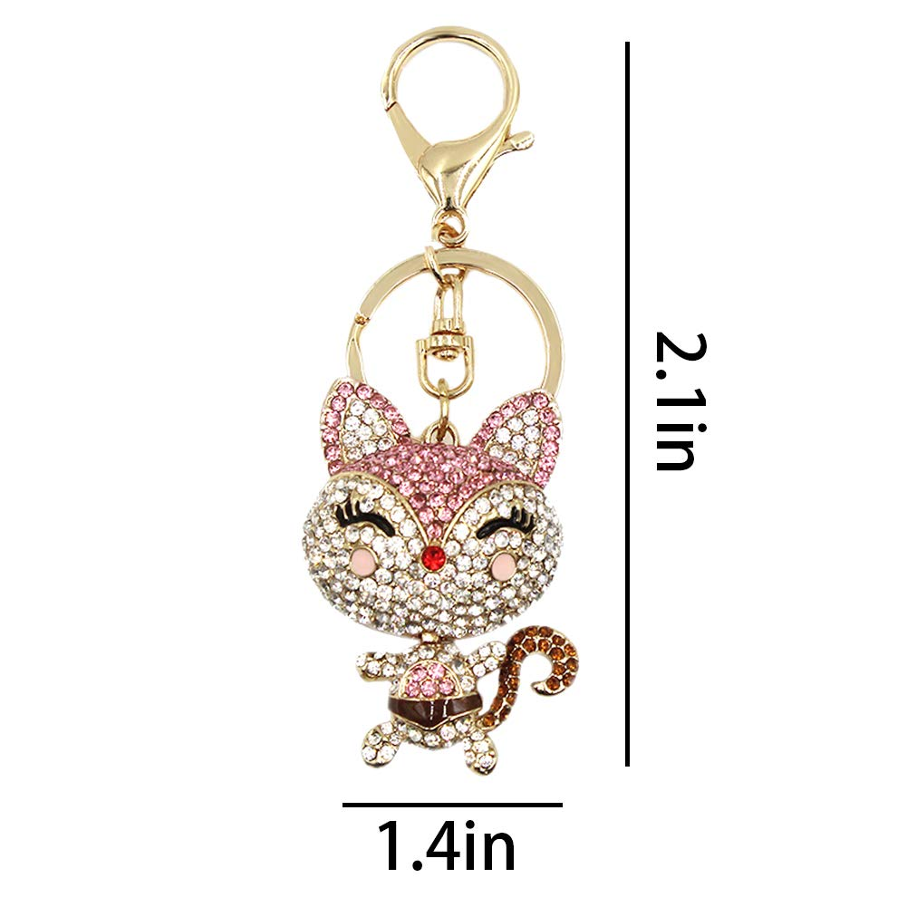 Cute Fox Rhinestone Keychain Bling Keyring Women Bag Purse Charm Pendant Gift by leomoste (Image #4)
