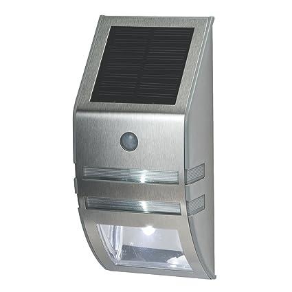 Vuelta energía Solar LED mampara con sensor de movimiento y fotocélula plata
