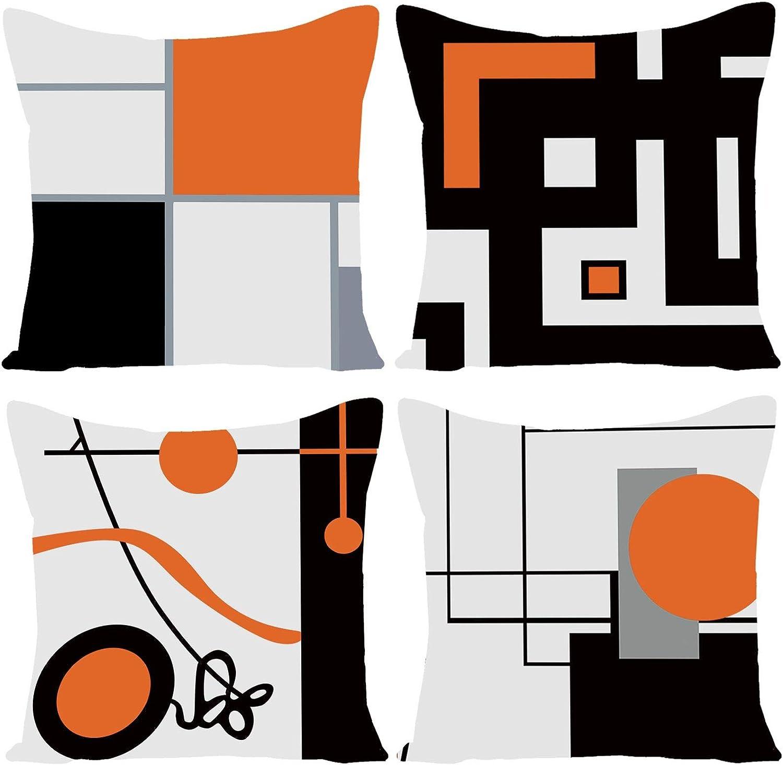 WILPROO Black Orange Geometric Decorative Cushion Pillow Covers Set of 4 18