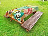 Ambesonne Vintage Outdoor Tablecloth, Bingo Game with Ball and Cards Pop Art Stylized Lottery Hobby Celebration Theme, Decorative Washable Picnic Table Cloth, 58 X 84 inches, Multicolor