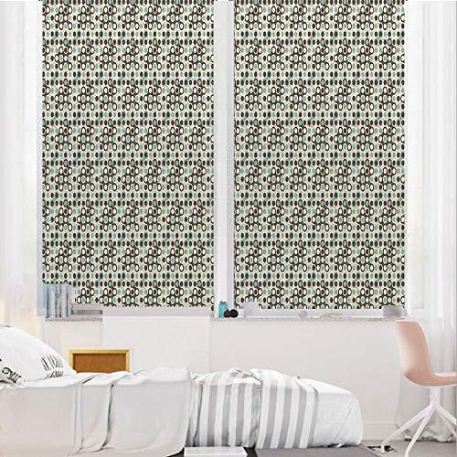 Ivory Stripes May Arts - Geometric 3D No Glue Static Decorative Privacy Window Films, Grungy Display Circular Spots Vintage Design Modern Art Elements,17.7