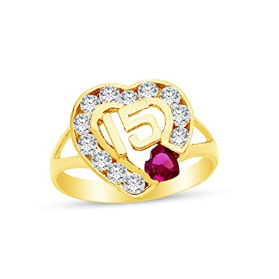 11590aeb52db 14 K Amarillo Oro más alta calidad CZ circonita 15 años cumpleaños corazón  anillo  Amazon.es  Joyería