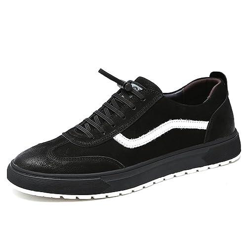 HUAN Zapatos de Hombre de Cuero Primavera Otoño Comfort Mocasines con Cordones Juventud Transpirable Zapatos Para