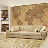 Wall26 - Antique Monochrome Vintage Political World Map Wallpaper - Wall Mural, Removable Sticker, Home Decor - 66x96 inches
