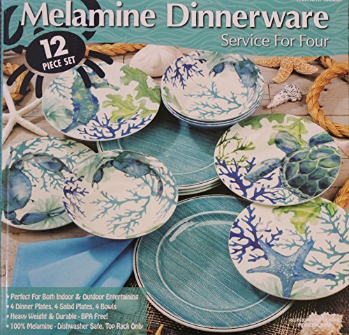 Melamine Blue/Green Sea Life 12-Piece Dinnerware set - 4 Dinner plates, 4 Salad plates and 4 Bowls (Blue Green Dinnerware)