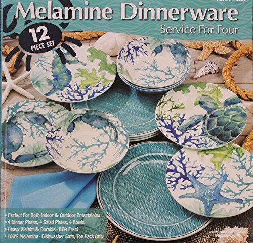 Melamine Blue/Green Sea Life 12-Piece Dinnerware set - 4 Dinner plates, 4 Salad plates and 4 Bowls (Blue Green Dinnerware)